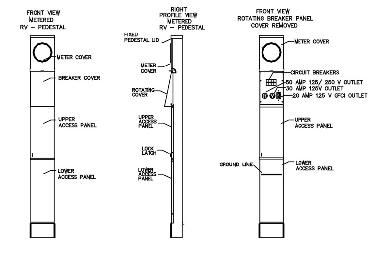 100 Amp RV Electrical Service Pedestal - Metered, Diagram